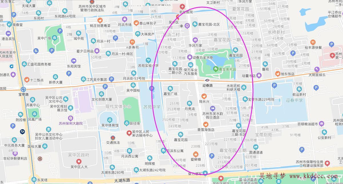 苏州市吴中区嘉宝花园区位分布图(嘉宝花园一期二期三期)