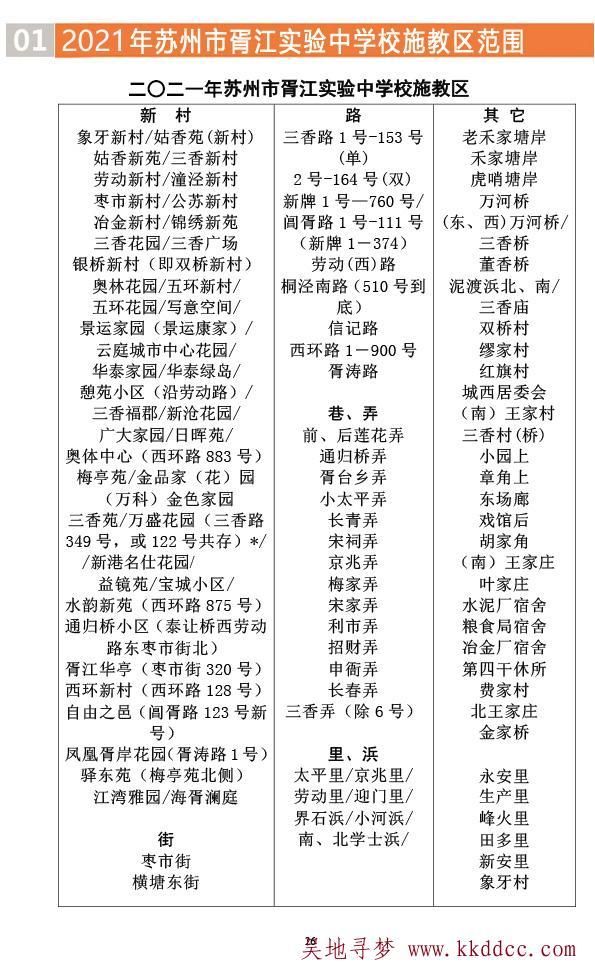 2021年苏州市胥江实验中学校入学政策(胥江中学施教区)